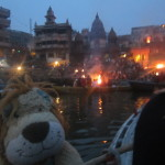 Lewis watches some traditional Indian funeral pyres on the ghats of the River Ganga.