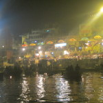 Hypnotic music and lights on the banks of the River Ganga