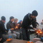 Dushyant lights the candles for his group