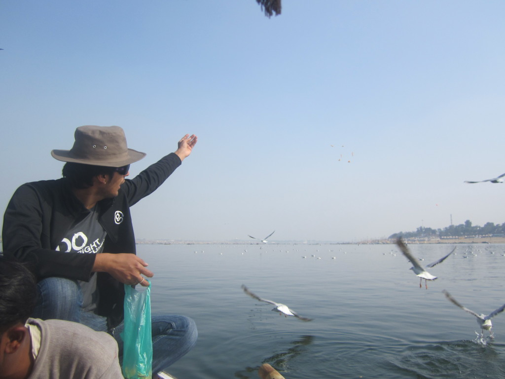 Dushyant feeds the seagulls