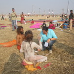 Seetal also takes a blessing from the sadhus