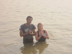 Dushyant and Helen are pleased to take the holy dip together