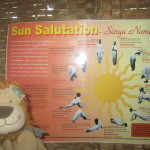 Lewis practises the stages of the Sun Salutation