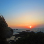 Lewis the Lion watches the sun set over Palolem