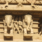 Some of the many elephant sculptures